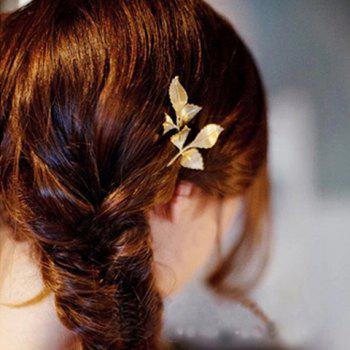 Retro Chic Leaf Shape Solid Color Hairpin For Women - CHAMPAGNE CHAMPAGNE
