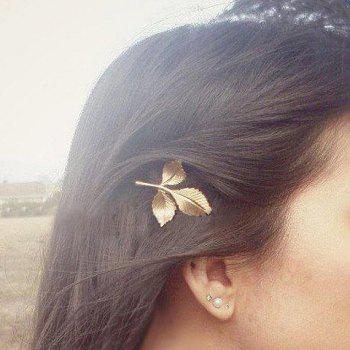 Retro Chic Leaf Shape Solid Color Hairpin For Women -  CHAMPAGNE