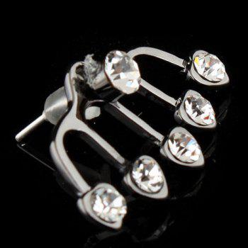 12 Pieces of Rhinestone Heart Shape Earrings - AS THE PICTURE