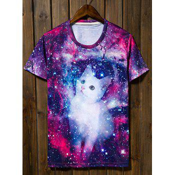 Round Collar Short Sleeve Kitten and Starry Sky Pattern Slimming T-Shirt For Men