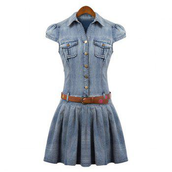 Bleach Wash Ruffles Stylish Turn-Down Collar Short Sleeve with Belt Women's Denim Dress