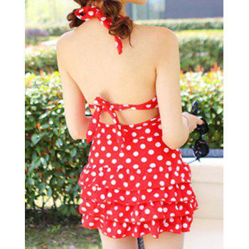 Cute Halter Padded Polka Dot One-Piece Swimwear For Women - RED RED