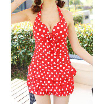 Cute Halter Padded Polka Dot One-Piece Swimwear For Women - RED M