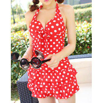 Cute Halter Padded Polka Dot One-Piece Swimwear For Women - M M