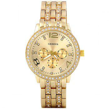 GENEVA Quartz Watch with Diamonds Round Dial and Steel Watch Band for Women - GOLDEN