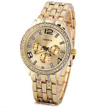GENEVA Quartz Watch with Diamonds Round Dial and Steel Watch Band for Women - GOLDEN GOLDEN