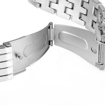 GENEVA Quartz Watch with Diamonds Round Dial and Steel Watch Band for Women -  SILVER