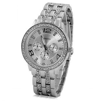 GENEVA Quartz Watch with Diamonds Round Dial and Steel Watch Band for Women - SILVER SILVER
