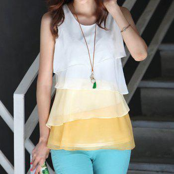 Sleeveless Tiered Color Block Blouse