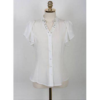 Elegant V-Neck Beaded Short Sleeve Ruffled Chiffon Blouse For Women - WHITE WHITE