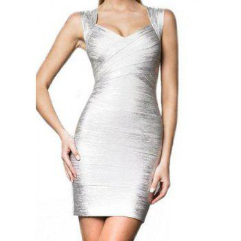 Solid Color Sweetheart Neck Backless Bandage Dress