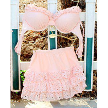 Cute Hollow Out Padded Spaghetti Strap Three-Piece Swimwear For Women