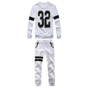 Fashion Style Round Neck Number Print Stripes Splicing Full Sleeves Men's Polyester Sweatshirt Suits - WHITE WHITE