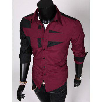 Fashion Hit Color Irregular Splicing Shirt Collar Long Sleeve Slimming Polyester Shirt For Men - RED RED