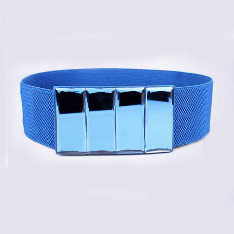 Stylish Chic Square Buckle Solid Color Elastic Waist Belt For Women - AZURE
