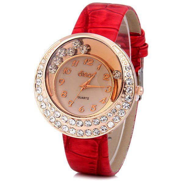 Stylish Quartz Watch with Analog Indicate Diamonds Leather Watch Band for Women - RED