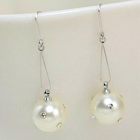 Pair of Simple Faux Pearl Pendant Drop Earrings For Women - SILVER