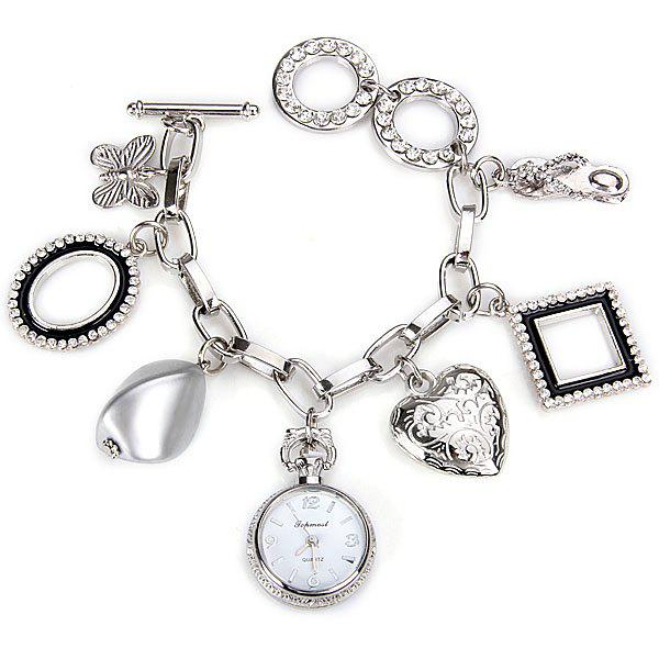 Stylish Quartz Watch with Round Dial and Heart Butterfly Chain Watch Band for Women