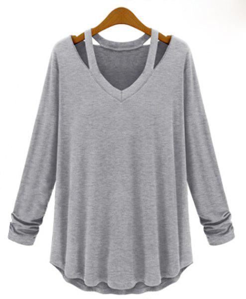 Cut Out Solid Color Simple Style V-Neck Long Sleeve Women's Blouse - LIGHT GRAY M