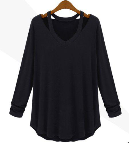 Cut Out Solid Color Simple Style V-Neck Long Sleeve Women's Blouse - BLACK S