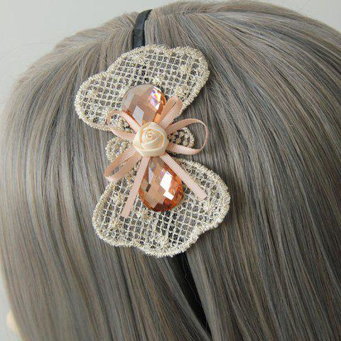 Sweet Rhinestone Decorated Lace Bowknot Hairband For Women - AS THE PICTURE