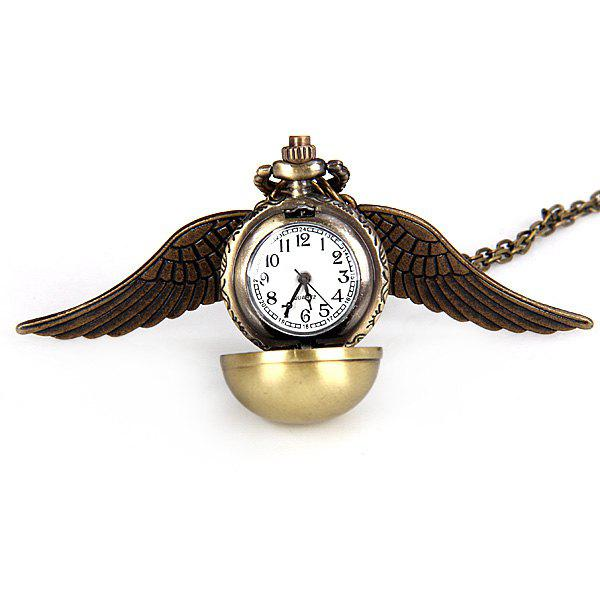 Luxury Design Harry Potter Angel Wing Ball Quartz Pocket Watch Pendant Necklace with Analog - BRONZE COLORED