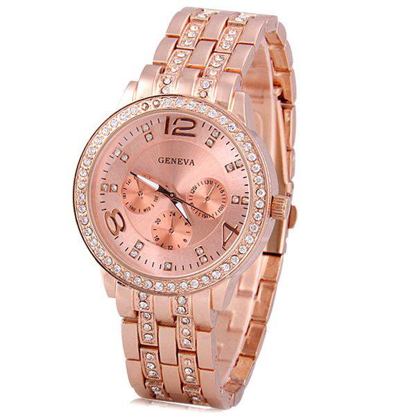 GENEVA Quartz Watch with Diamonds Round Dial and Steel Watch Band for Women popular women watch analog with diamonds style round dial steel watch band