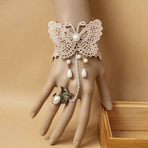 Lace Butterfly Pattern Pearl Pendant Bracelet With a Ring - AS THE PICTURE