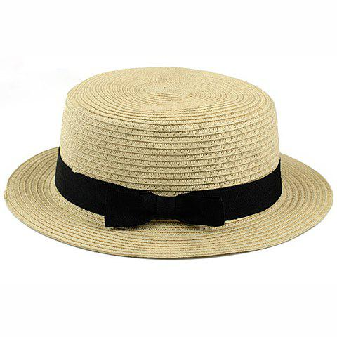 Bowknot Embellished 1920 Straw Hat - COLOR ASSORTED