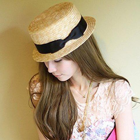 Bowknot Embellished Stylish Sun Hat For Women - LIGHT CAMEL