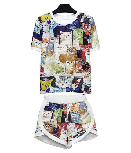Round Collar Short Sleeve Kitten Print T-Shirt + Shorts Trendy Style Women's Suits
