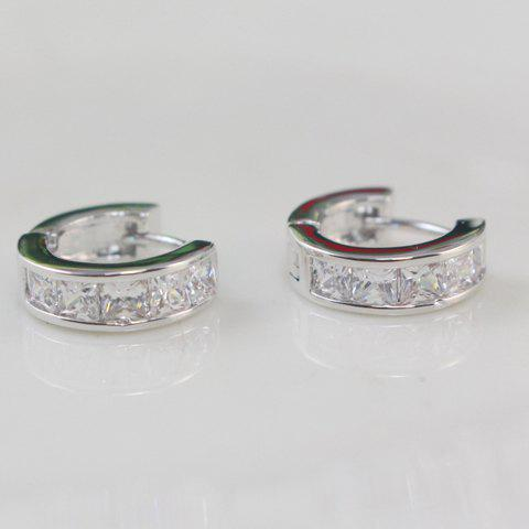 Pair of Exquisite Rhinestone Decorated Hoop Earrings For Women