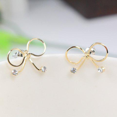 Pair of Exquisite Rhinestone Decorated Hollow Out Bowknot Earrings For Women - GOLDEN