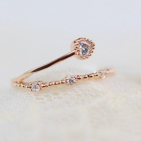 Exquisite Rhinestone Decorated Heart Shape Ring For Women