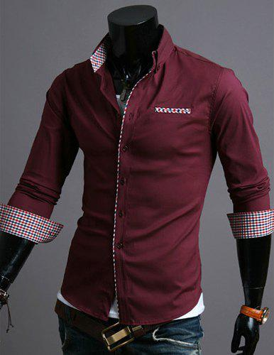 Casual Style Turn-down Collar Checked Print Cuffs Color Block Design Full Sleeves Men's Shirt - WINE RED M