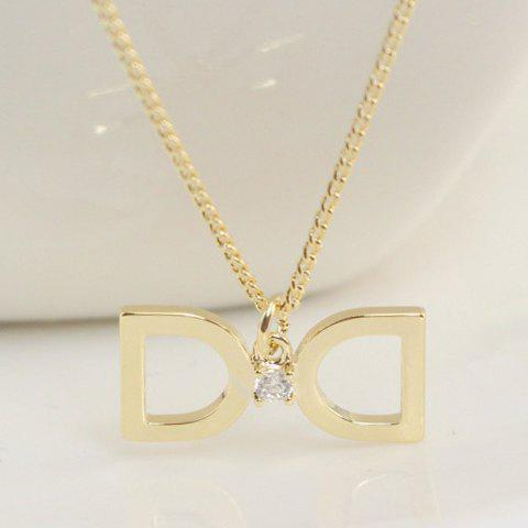 Exquisite Hollow Out Bowknot Pendant Necklace For Women - GOLDEN