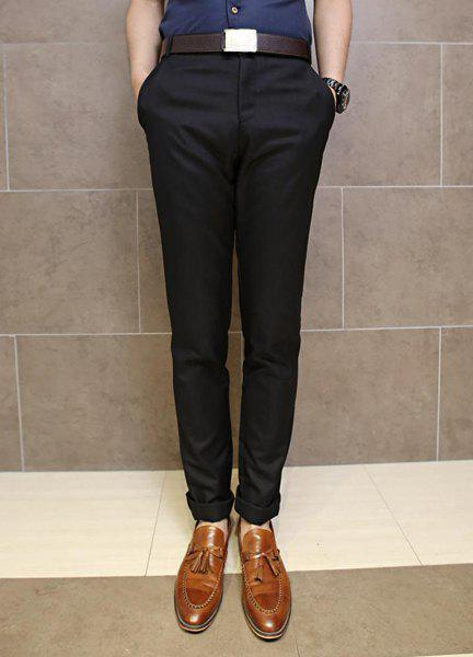 Slimming Trendy Solid Color Pocket Design Straight Leg Polyester Pants For Men - BLACK M