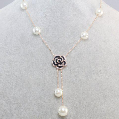 Sweet Diamante Flower Pendant Faux Pearl Decorated Necklace For Women