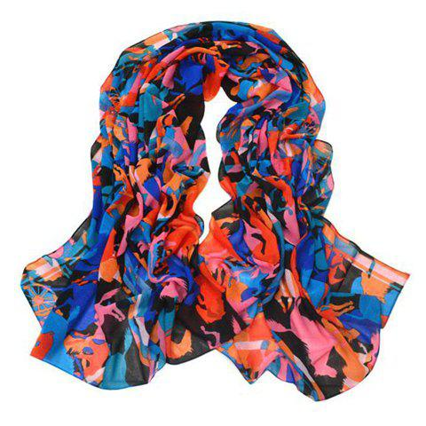 Stylish Chic Color Blocked Scarf For Women - BLUE