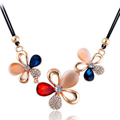 Chic Multi-Element Decorated Openwork Flower Pendant Necklace For Women - AS THE PICTURE