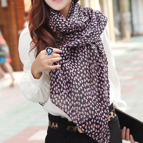 Sweet Cute Pink Heart Print Scarf For Women