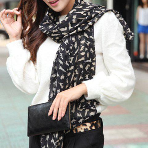 Sweet Cat Print Scarf For Women