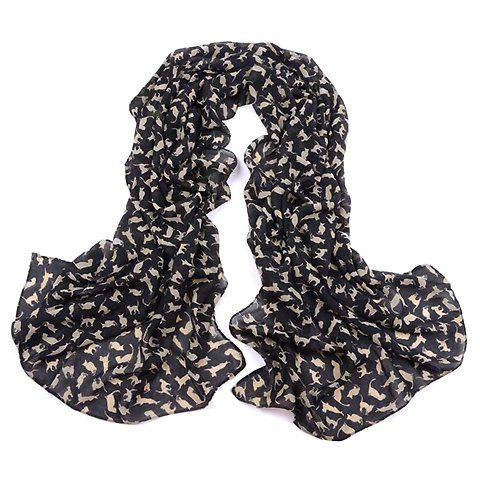 Stylish Chic Cat Pattern Decorated Scarf For Women - BLACK