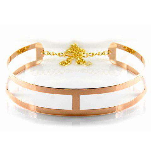 Stylish Fashion Metal Openwork Waist Belt For Women - GOLDEN