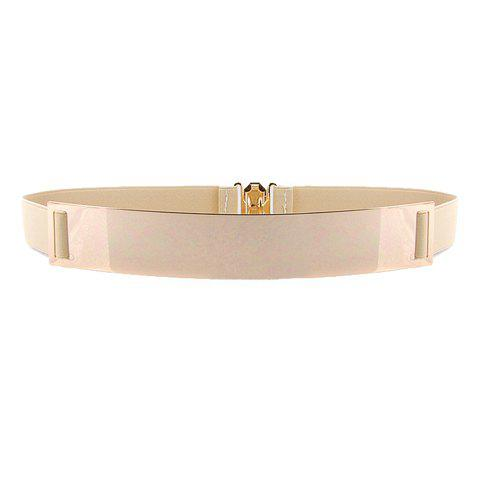Stylish Chic Metal Buckle Elastic Waist Belt For Women - APRICOT