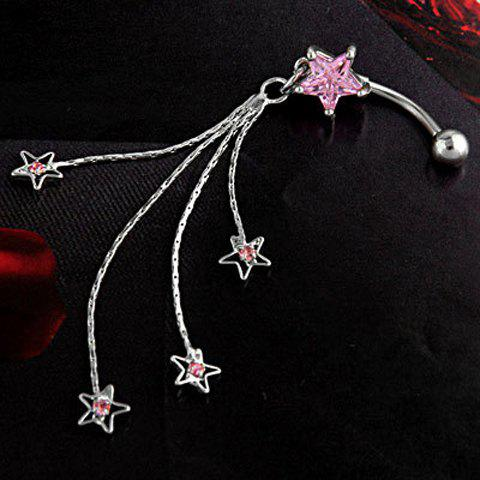 Exquisite Diamante Star Decorated Tassels Pendant Belly Button Ring For Women - PINK