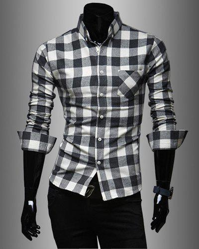 Fashion Style Turn-down Collar Full Plaid Print Long Sleeves Polyester Men's Shirt - WHITE 2XL