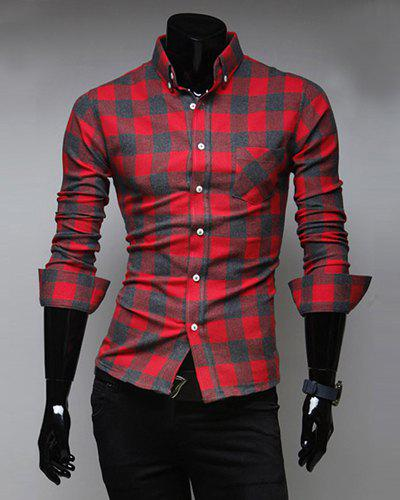 Fashion Style Turn-down Collar Full Plaid Print Long Sleeves Polyester Men's Shirt - RED M