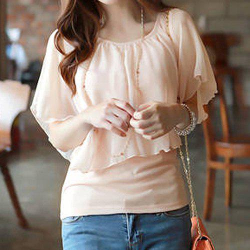 Ladylike Pleated Batwing Sleeve Scoop Neck Faux Twinset T-Shirt - PINK M