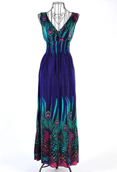 Sleeveless V-Neck Nippecd Waist Peacock Feater Print Bohemian Dress